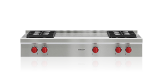 "Model: SRT484F | Wolf 48"" Sealed Burner Rangetop - 4 Burners and French Top"