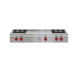 "Model: SRT484F | Wolf 48"" Sealed Burner Rangetop - 4 Burners and French Top"