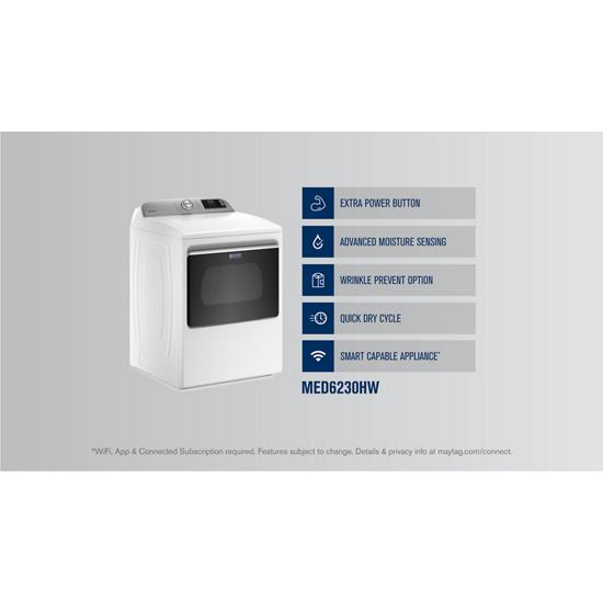Model: MED6230HW | Maytag Smart Capable Top Load Electric Dryer with Extra Power Button - 7.4 cu. ft.