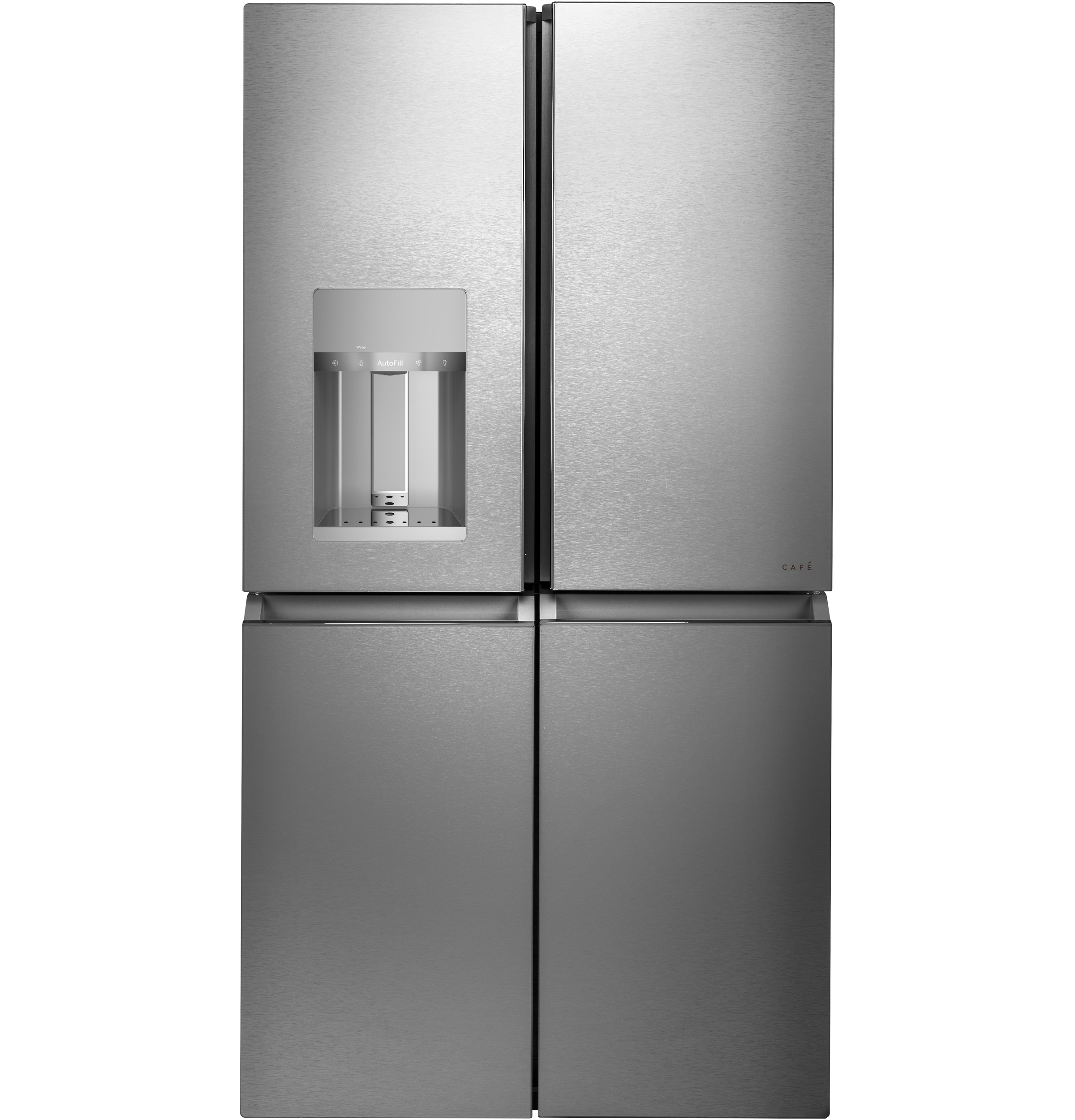 Cafe Café™ ENERGY STAR® 27.4 Cu. Ft. Smart Quad-Door Refrigerator in Platinum Glass