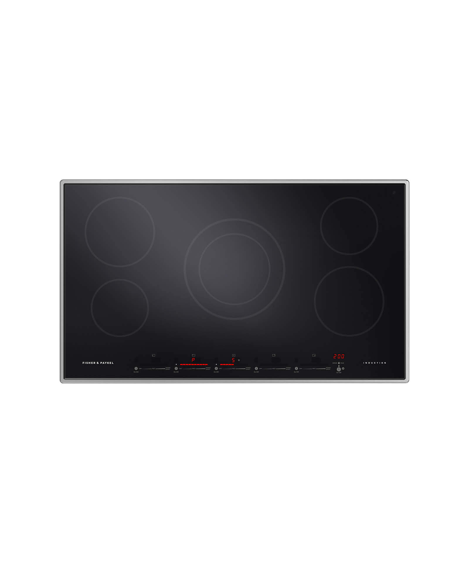 """Fisher and Paykel Induction Cooktop 36"""" 5 Zone, Dual Zone"""