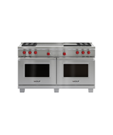 "Model: DF604GF | Wolf 60"" Dual Fuel Range - 4 Burners, Infrared Griddle and French Top"