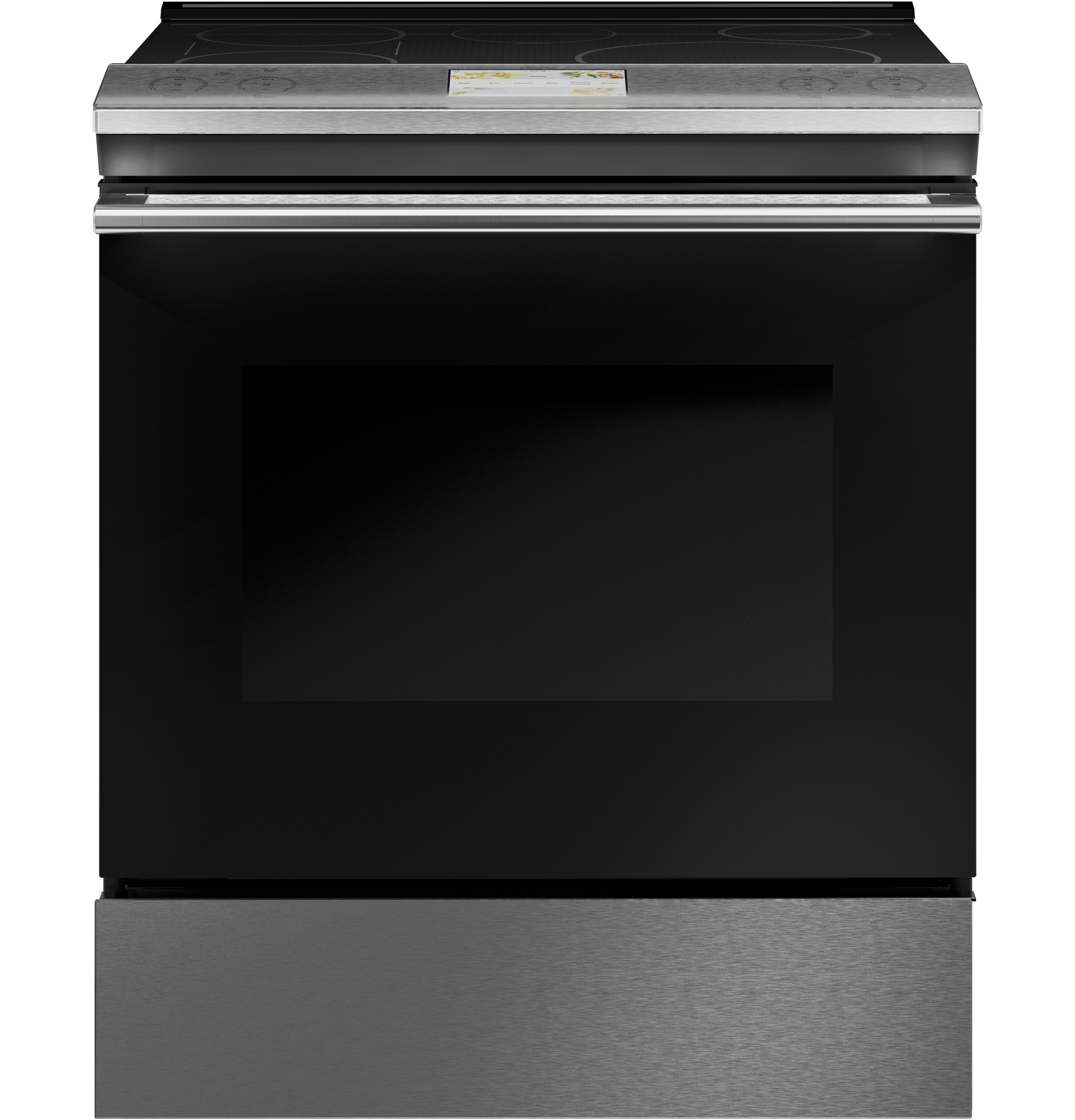 "Cafe Café™ 30"" Smart Slide-In, Front-Control, Induction and Convection Range in Platinum Glass"