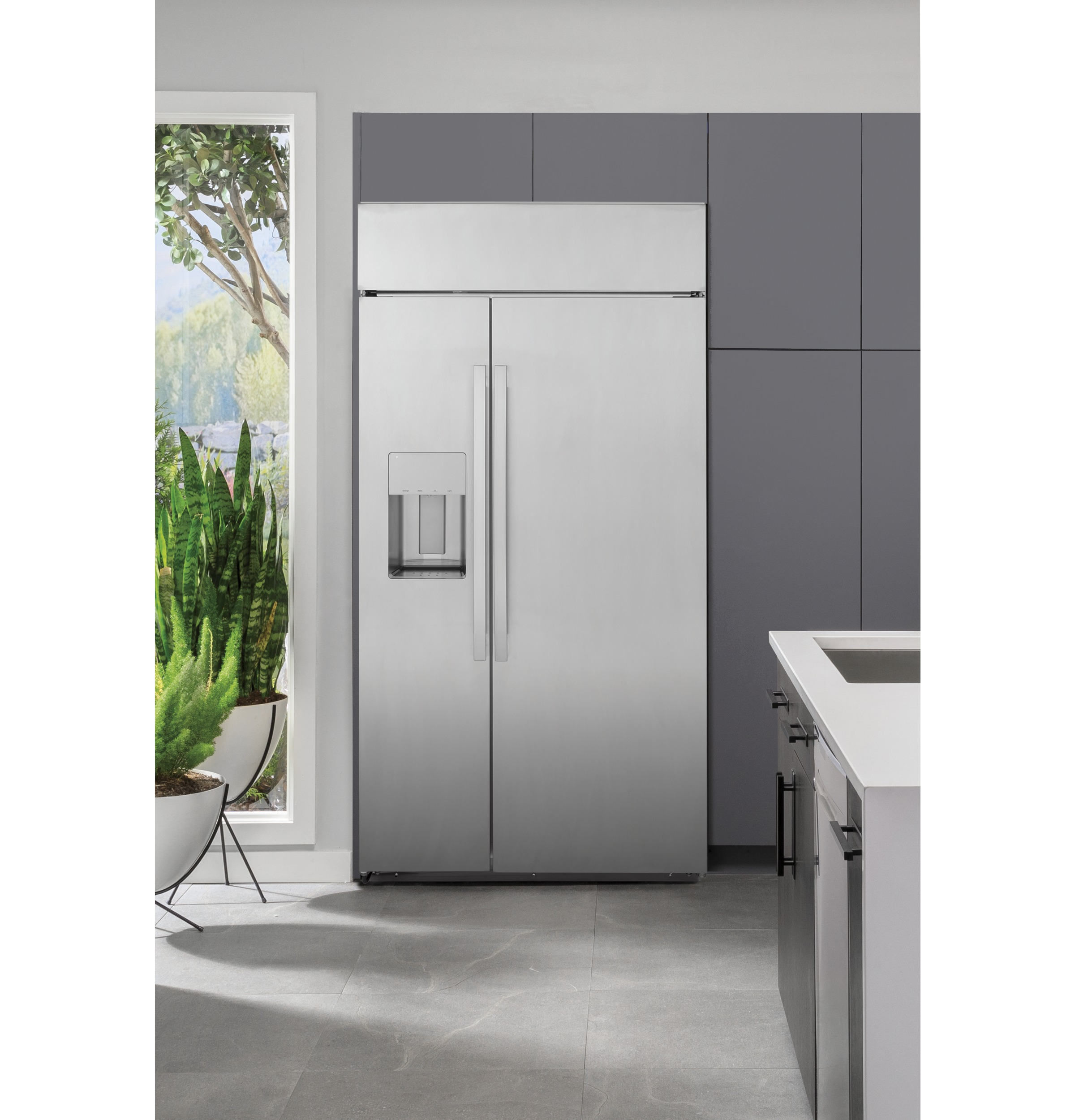 "Model: PSB48YSNSS | Profile GE Profile™ Series 48"" Smart Built-In Side-by-Side Refrigerator with Dispenser"
