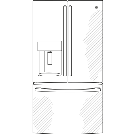 Model: GYE22GMNES | GE GE® ENERGY STAR® 22.1 Cu. Ft. Counter-Depth French-Door Refrigerator