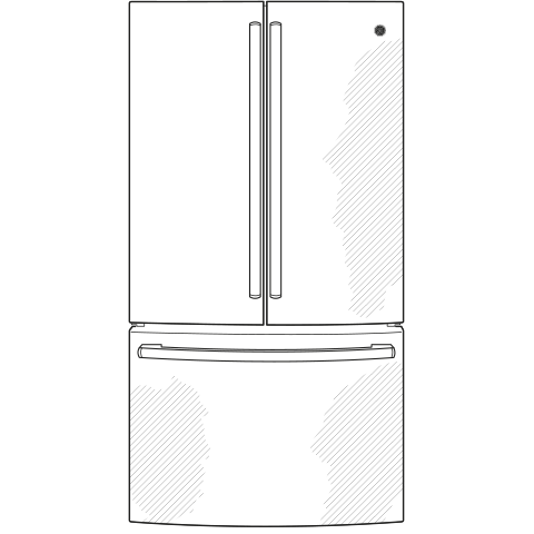 Model: GWE23GYNFS | GE GE®  23.1 Cu. Ft. Counter-Depth French-Door Refrigerator