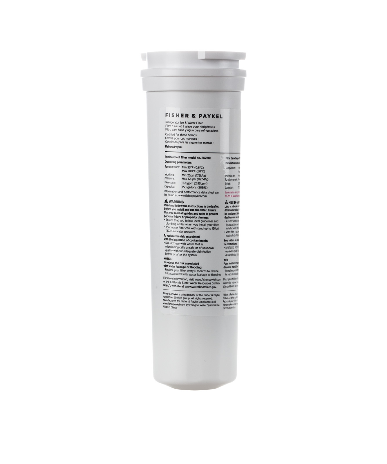 Fisher and Paykel Water Filter Cartridge
