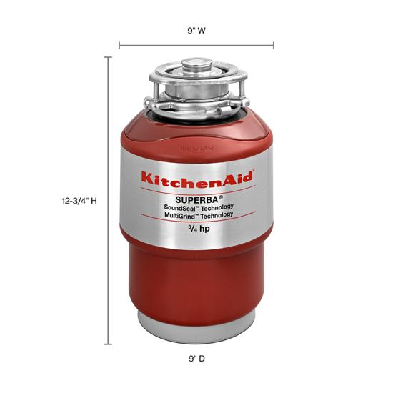 Model: KCDS075T | KitchenAid 3/4-Horsepower  Continuous Feed Food Waste Disposer