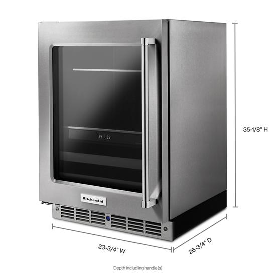 "Model: KUBL304ESS | KitchenAid 24"" Stainless Steel Beverage Center with SatinGlide® Metal-Front Racks"