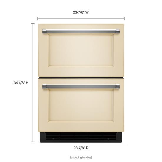 "Model: KUDR204EPA | KitchenAid 24"" Panel Ready Double Refrigerator Drawer"