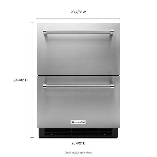 "Model: KUDR204ESB | KitchenAid 24"" Stainless Steel Double Refrigerator Drawer"