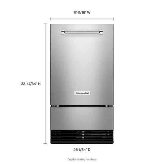 Model: KUID508HPS | KitchenAid KitchenAid® 18'' Automatic Ice Maker with PrintShield™ Finish