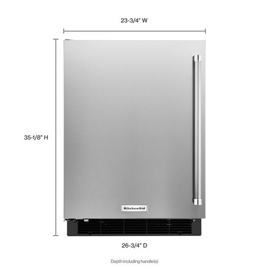"Model: KURL104ESB | KitchenAid 24"" Undercounter Refrigerator with Stainless Steel Door"