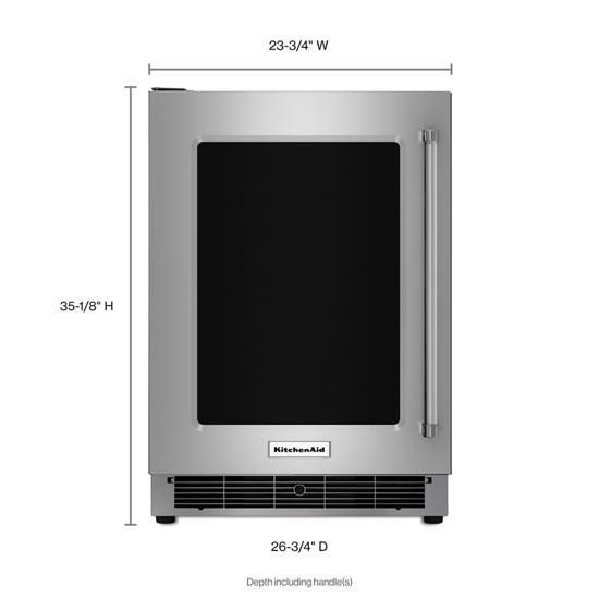 "Model: KURL304ESS | KitchenAid 24"" Undercounter Refrigerator with Glass Door and Metal Trim Shelves"
