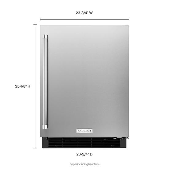 "Model: KURR104ESB | KitchenAid 24"" Undercounter Refrigerator with Stainless Steel Door"
