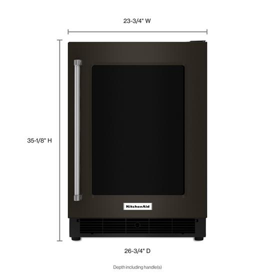 "Model: KURR304EBS | KitchenAid 24"" Undercounter Refrigerator with Glass Door and Metal Trim Shelves"