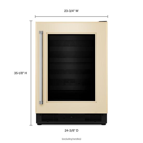 "Model: KUWR204EPA | KitchenAid 24"" Panel Ready Wine Cellar with Glass Door and Wood-Front Racks"