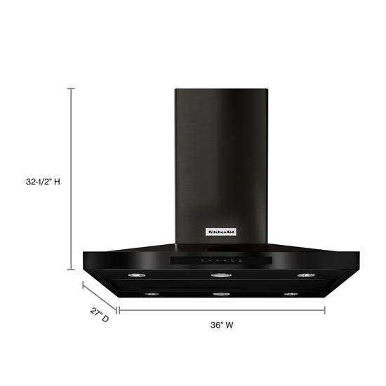 "Model: KVIB606DBS | KitchenAid 36"" Island-Mount, 3-Speed Canopy Hood"