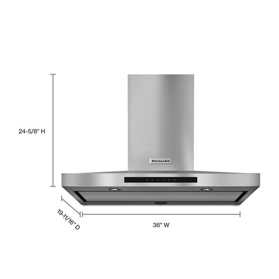 "Model: KVWB606DSS | KitchenAid 36"" Wall-Mount, 3-Speed Canopy Hood"