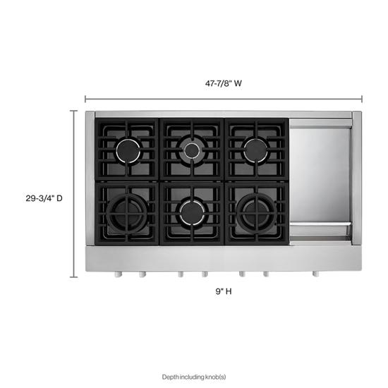 Model: KCGC558JSS | KitchenAid KitchenAid® 48'' 6-Burner Commercial-Style Gas Rangetop with Griddle