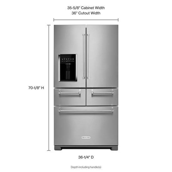 Model: KRMF606ESS   KitchenAid 25.8 Cu. Ft. 36-Inch Multi-Door Freestanding Refrigerator