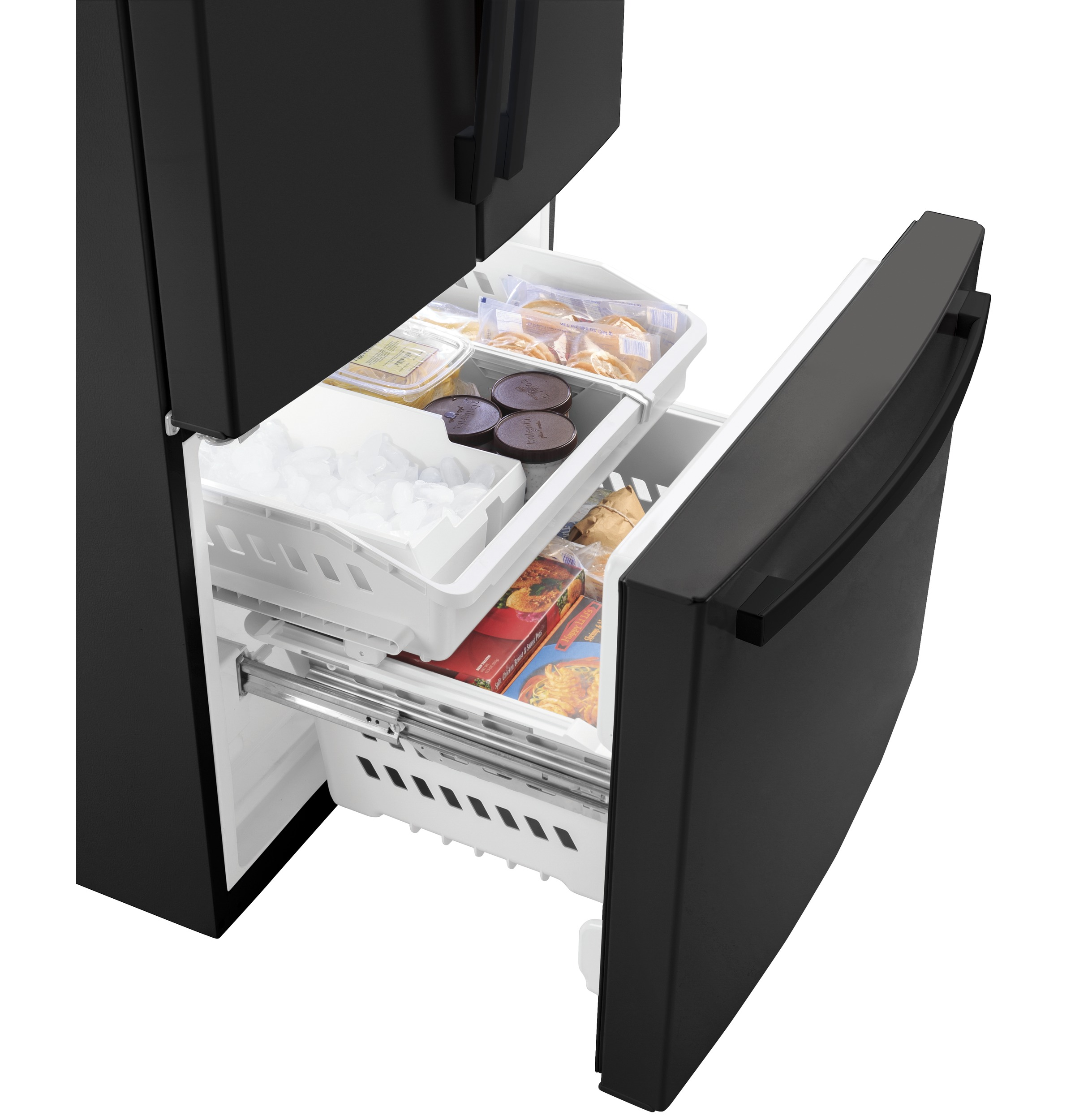 Model: GWE19JGLBB   GE GE® ENERGY STAR® 18.6 Cu. Ft. Counter-Depth French-Door Refrigerator