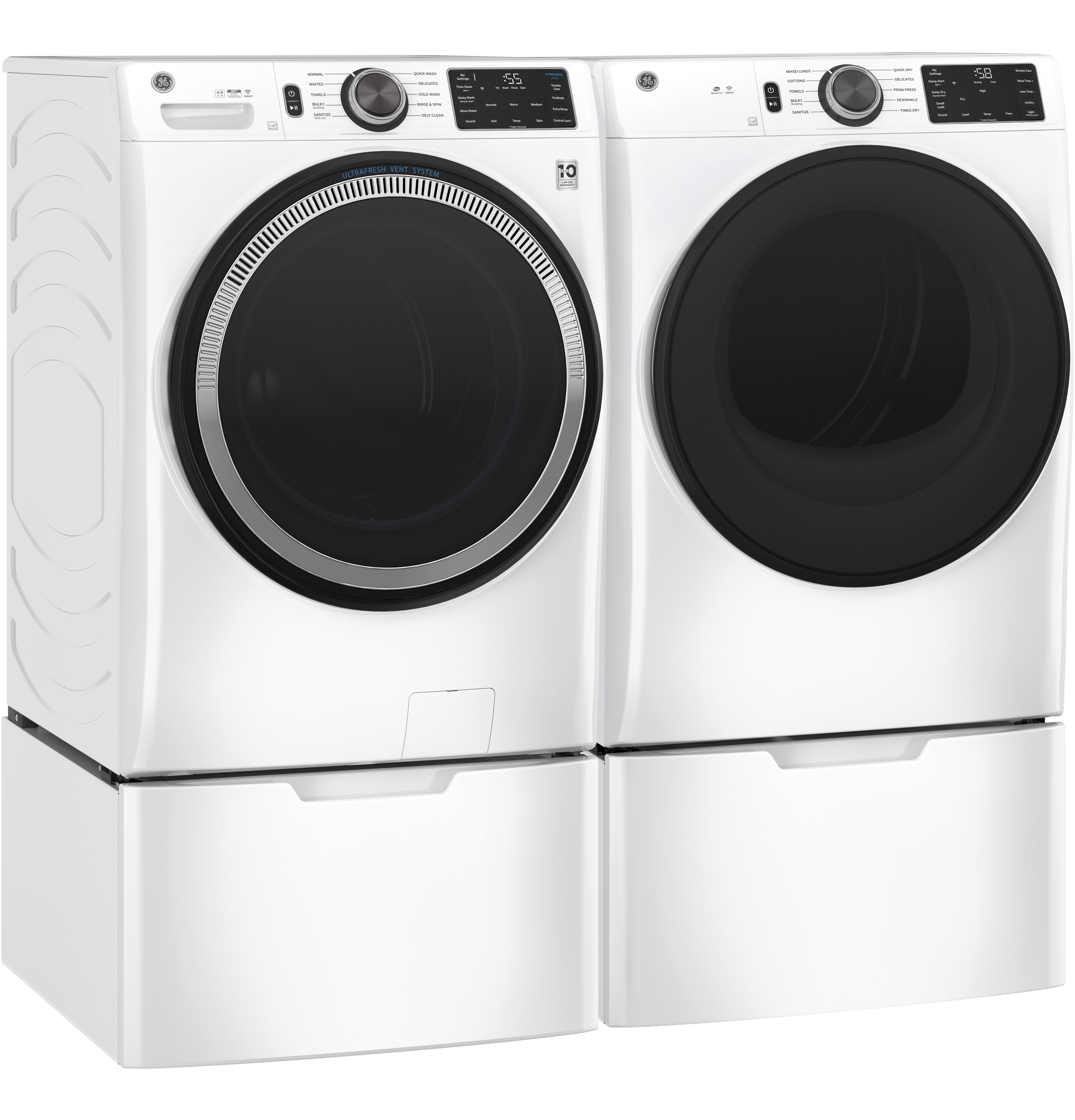 Model: GFD55GSSNWW | GE GE® 7.8 cu. ft. Capacity Smart Front Load Gas Dryer with Sanitize Cycle