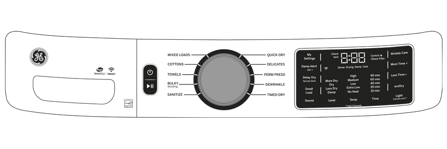 Model: GFD55GSSNWW   GE GE® 7.8 cu. ft. Capacity Smart Front Load Gas Dryer with Sanitize Cycle