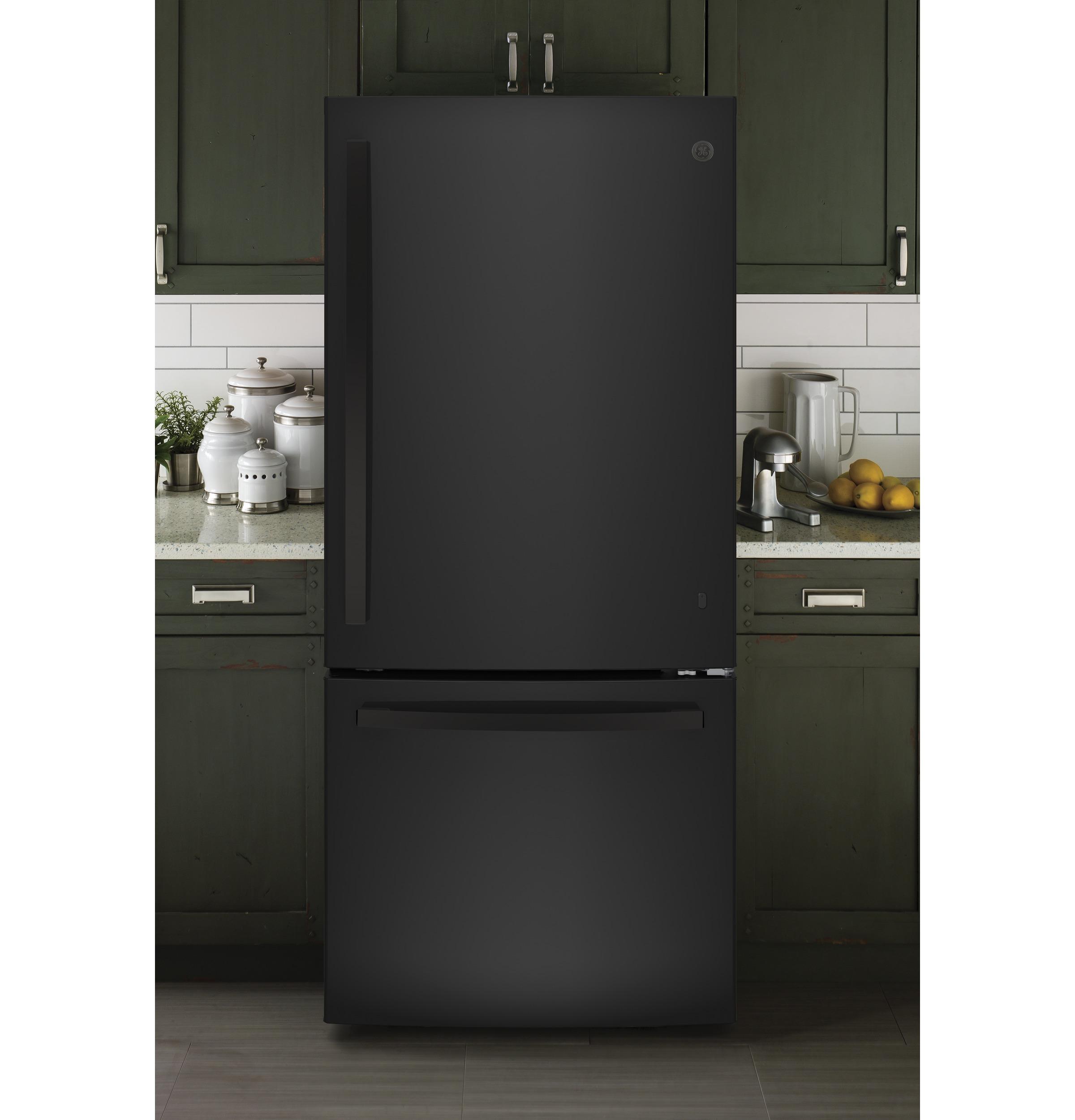 Model: GDE21EGKBB   GE GE® ENERGY STAR® 21.0 Cu. Ft. Bottom-Freezer Refrigerator
