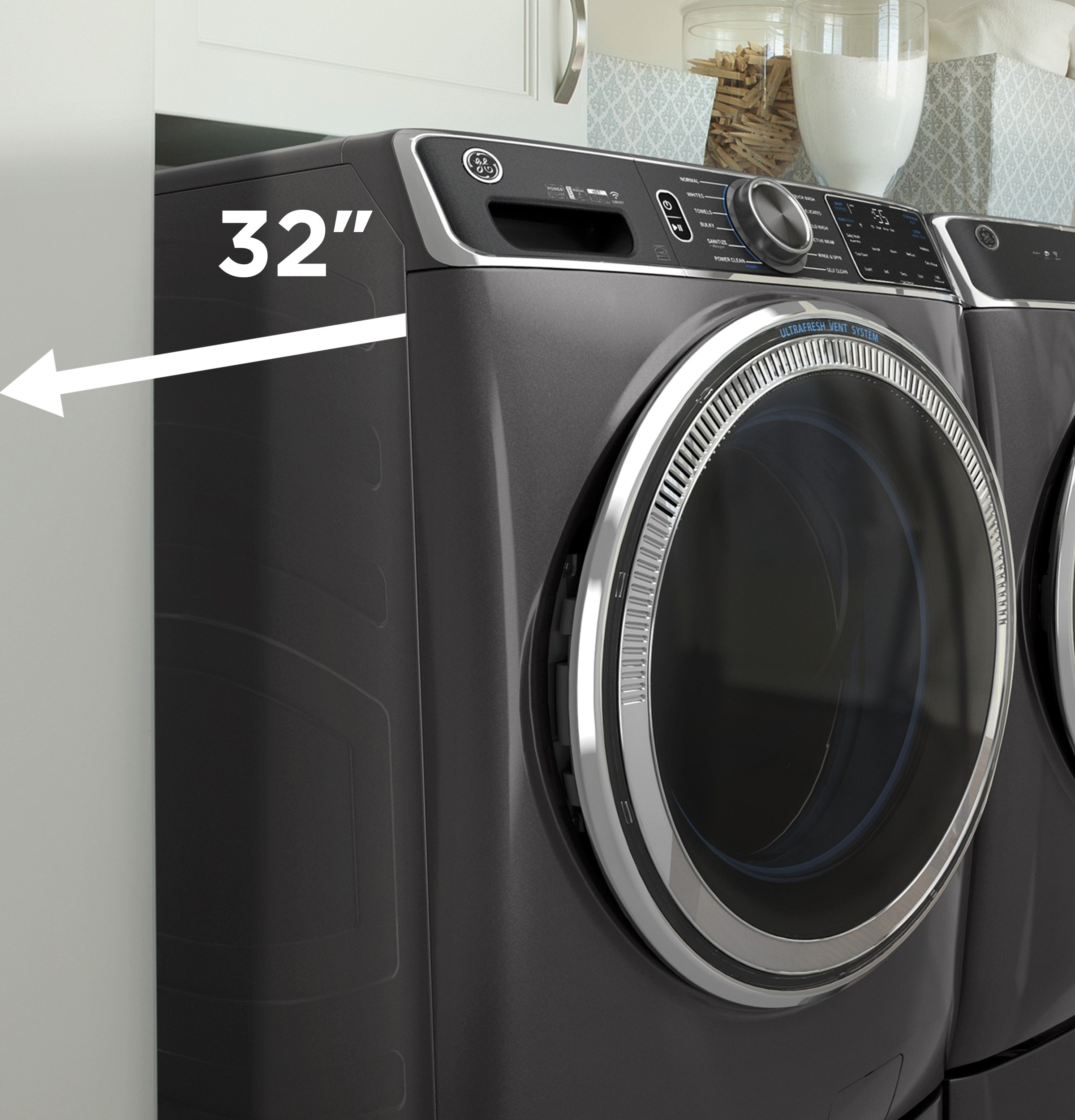 Model: GFW550SPNDG | GE GE® 4.8 cu. ft. Capacity Smart Front Load ENERGY STAR® Washer with UltraFresh Vent System with OdorBlock™ and Sanitize w/Oxi