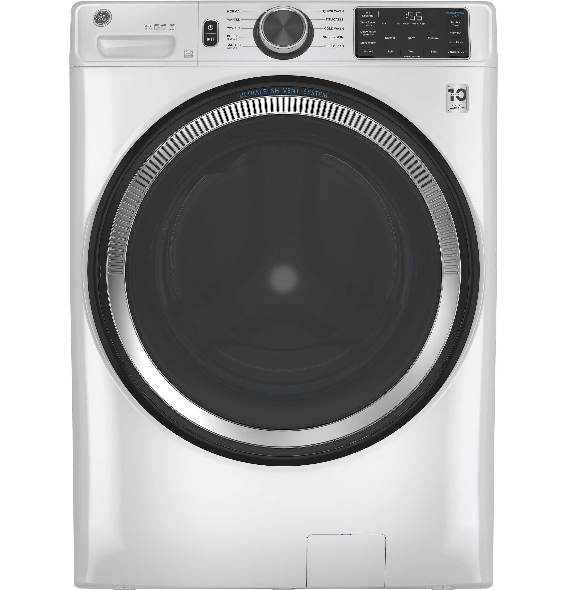 GE GE® 4.8 cu. ft. Capacity Smart Front Load ENERGY STAR® Washer with UltraFresh Vent System with OdorBlock™ and Sanitize w/Oxi