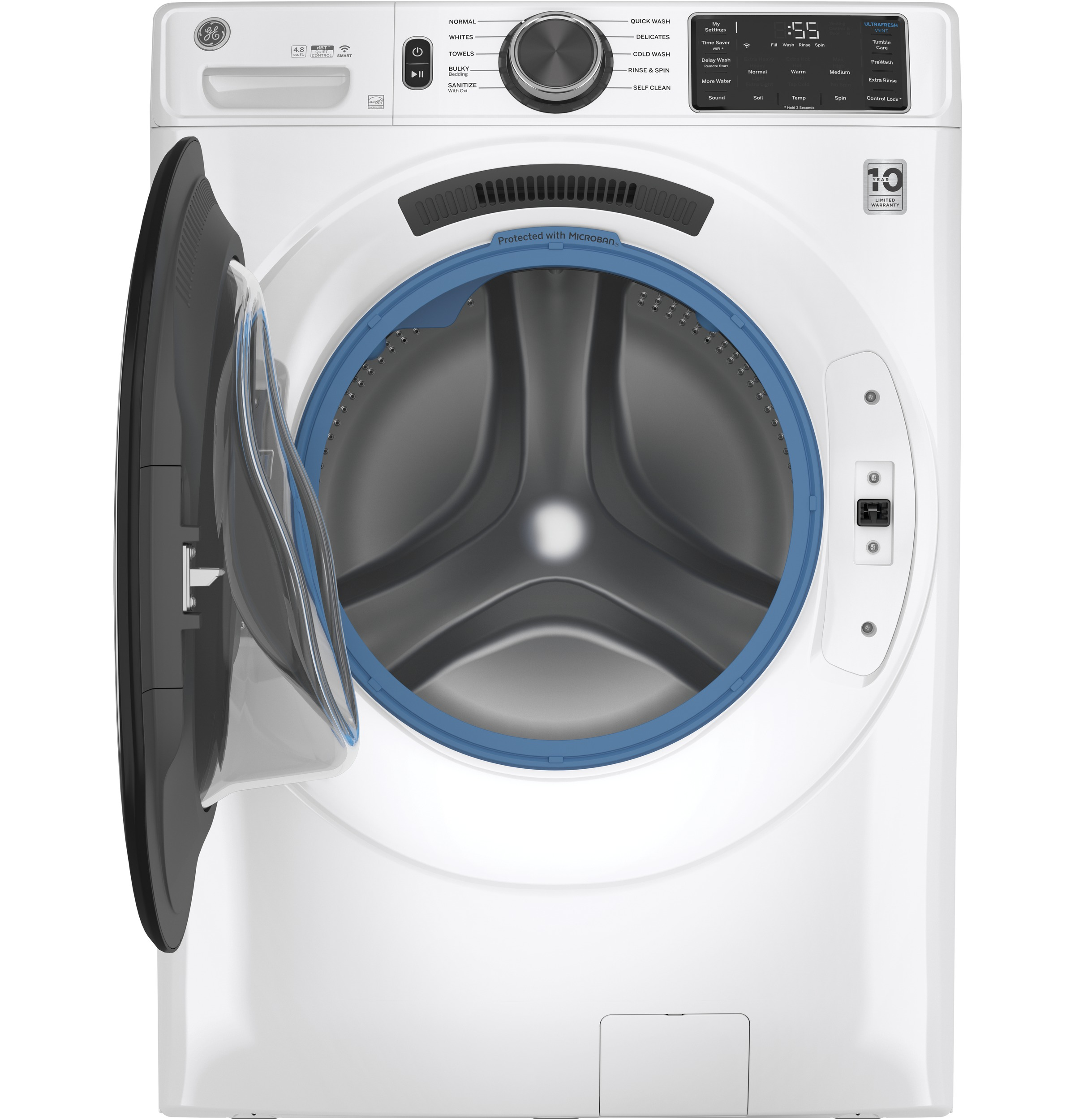 Model: GFW550SSNWW | GE GE® 4.8 cu. ft. Capacity Smart Front Load ENERGY STAR® Washer with UltraFresh Vent System with OdorBlock™ and Sanitize w/Oxi