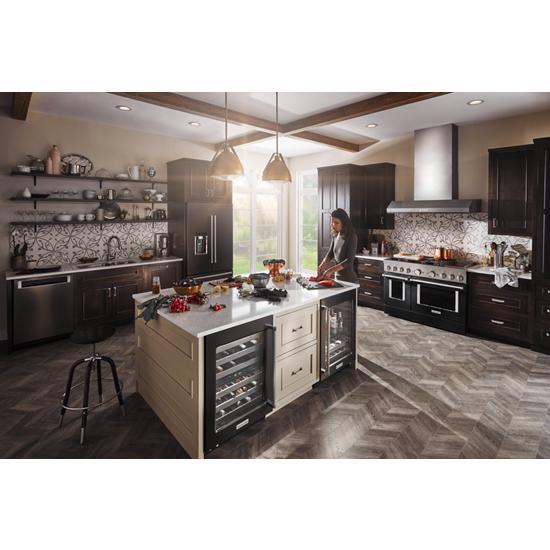 "Model: KUWL304EBS | KitchenAid 24"" Wine Cellar with Glass Door and Metal-Front Racks"