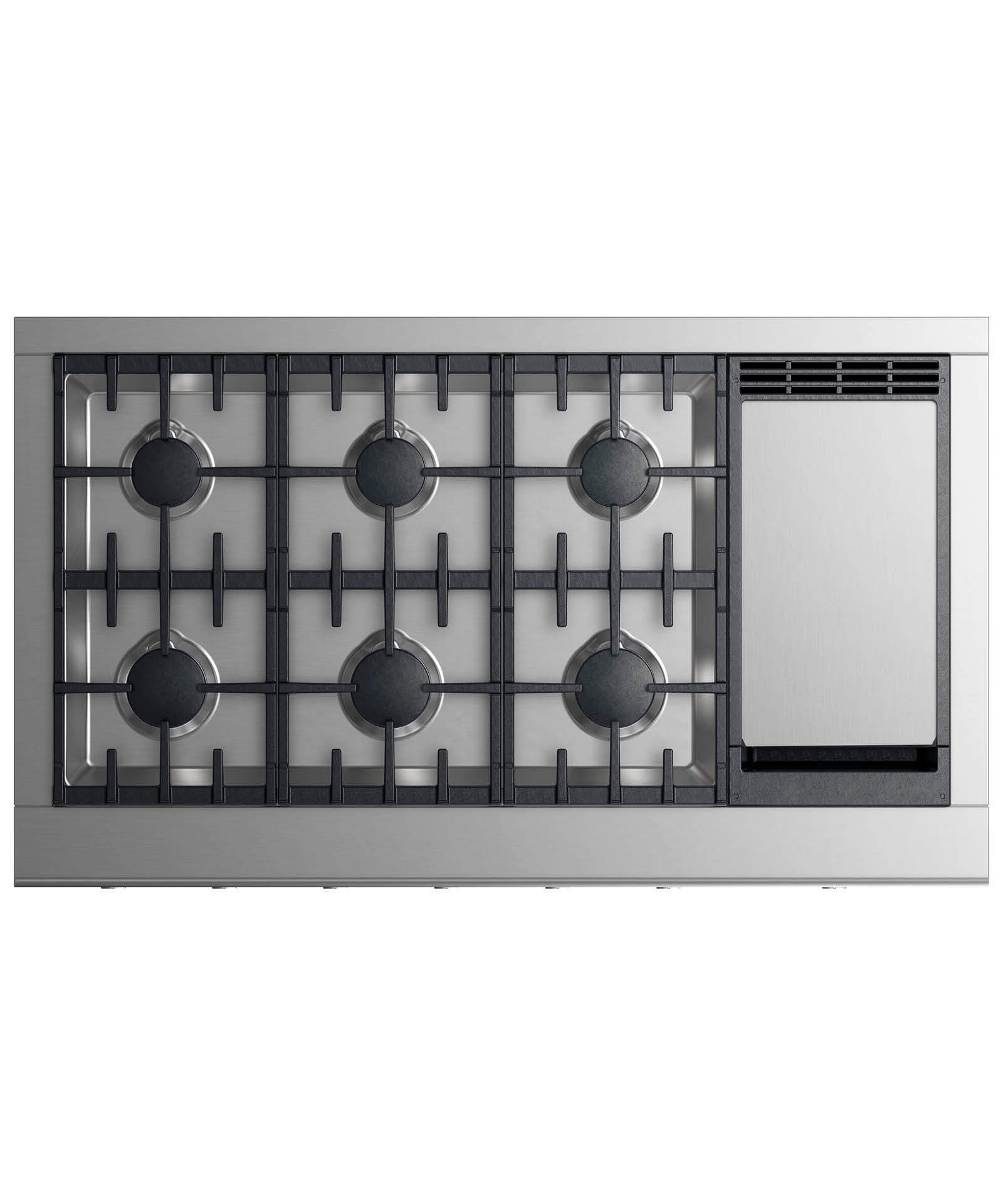 "Fisher and Paykel Gas Rangetop 48"", 6 burners with griddle"