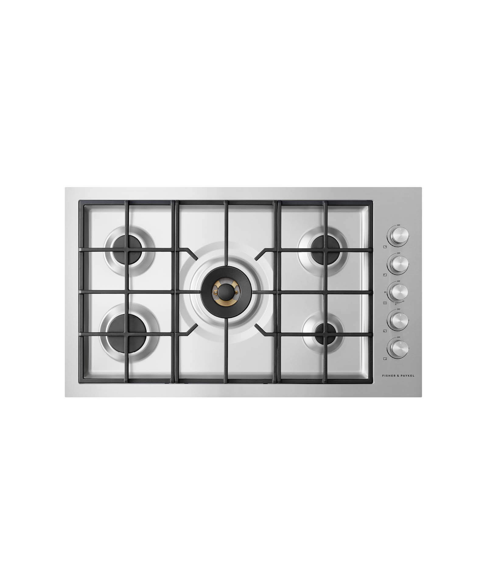 """Fisher and Paykel Gas on Steel Cooktop 36"""" 5 Burner, Flush Fit (LPG)"""