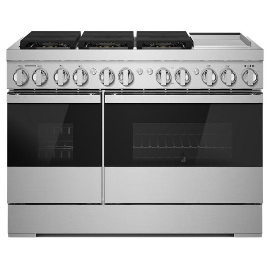 """Jenn-Air NOIR™ 48"""" Dual-Fuel Professional-Style Range with Chrome-Infused Griddle and Steam Assist"""
