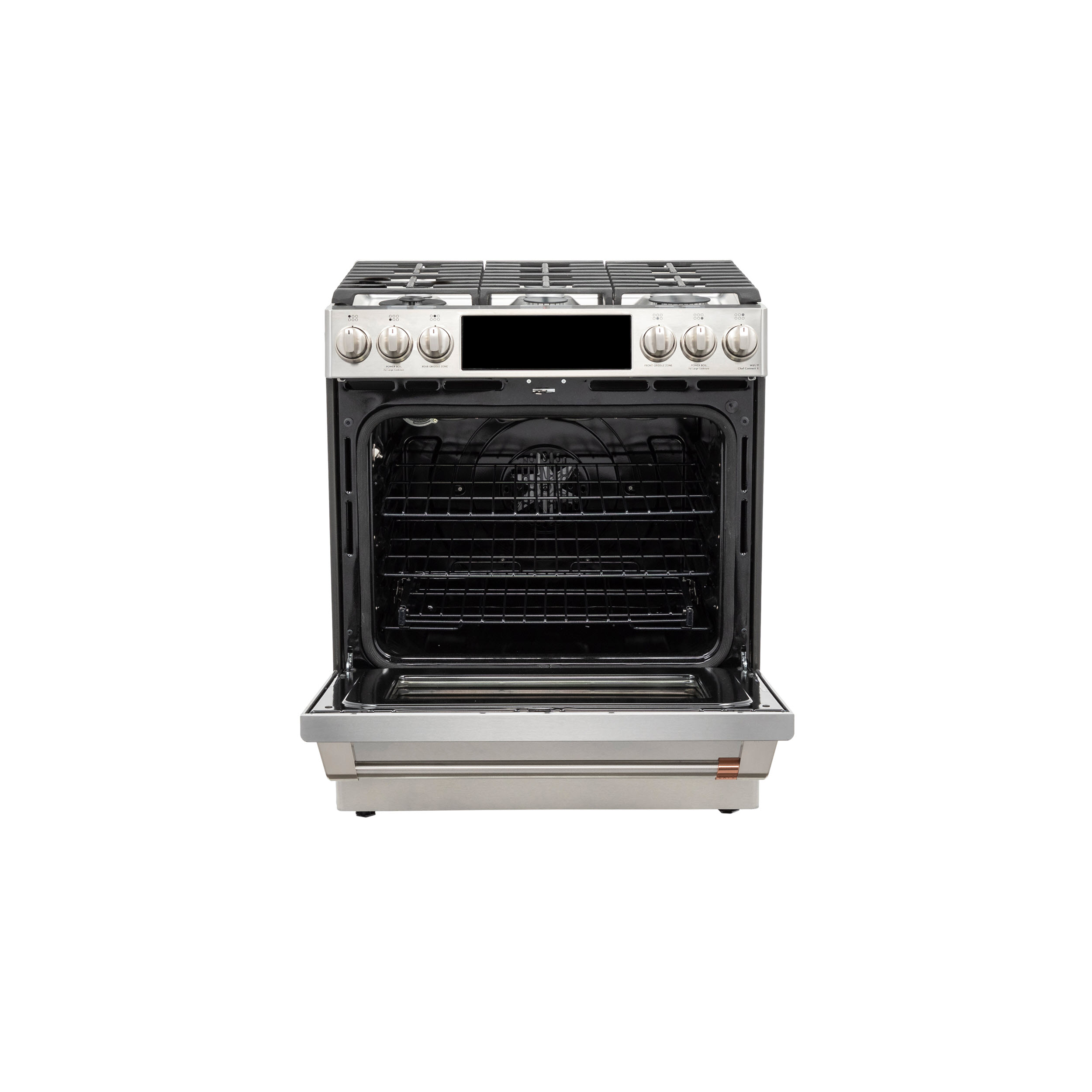 "Model: C2S900P2MS1 | Cafe Café™ 30"" Smart Slide-In, Front-Control, Dual-Fuel Range with Warming Drawer"