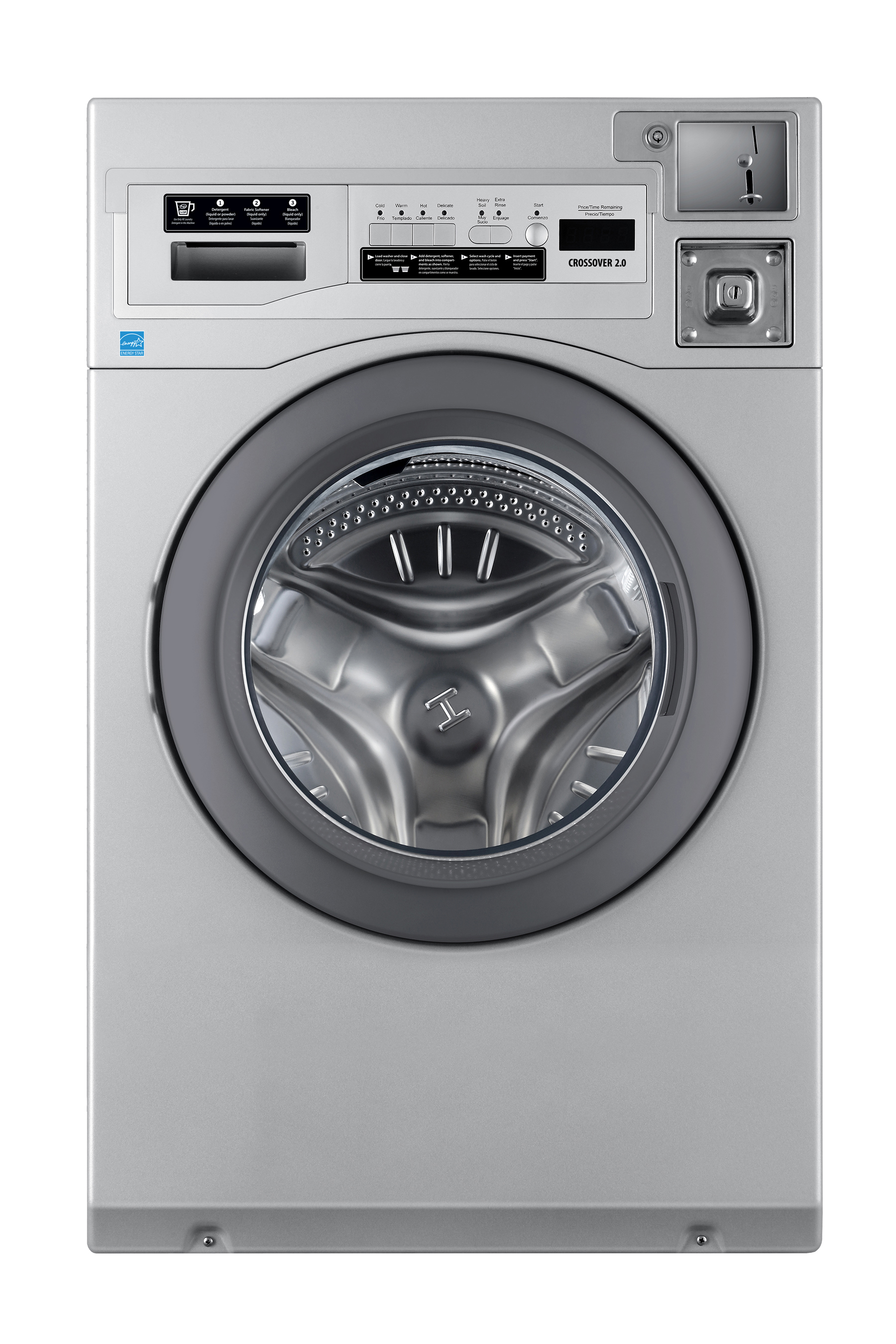 Crossover Laundry Crossover True Commercial Laundry - 3.5 CF Front Load Washer, Coin Option Included/Card Ready, Silver, 27""
