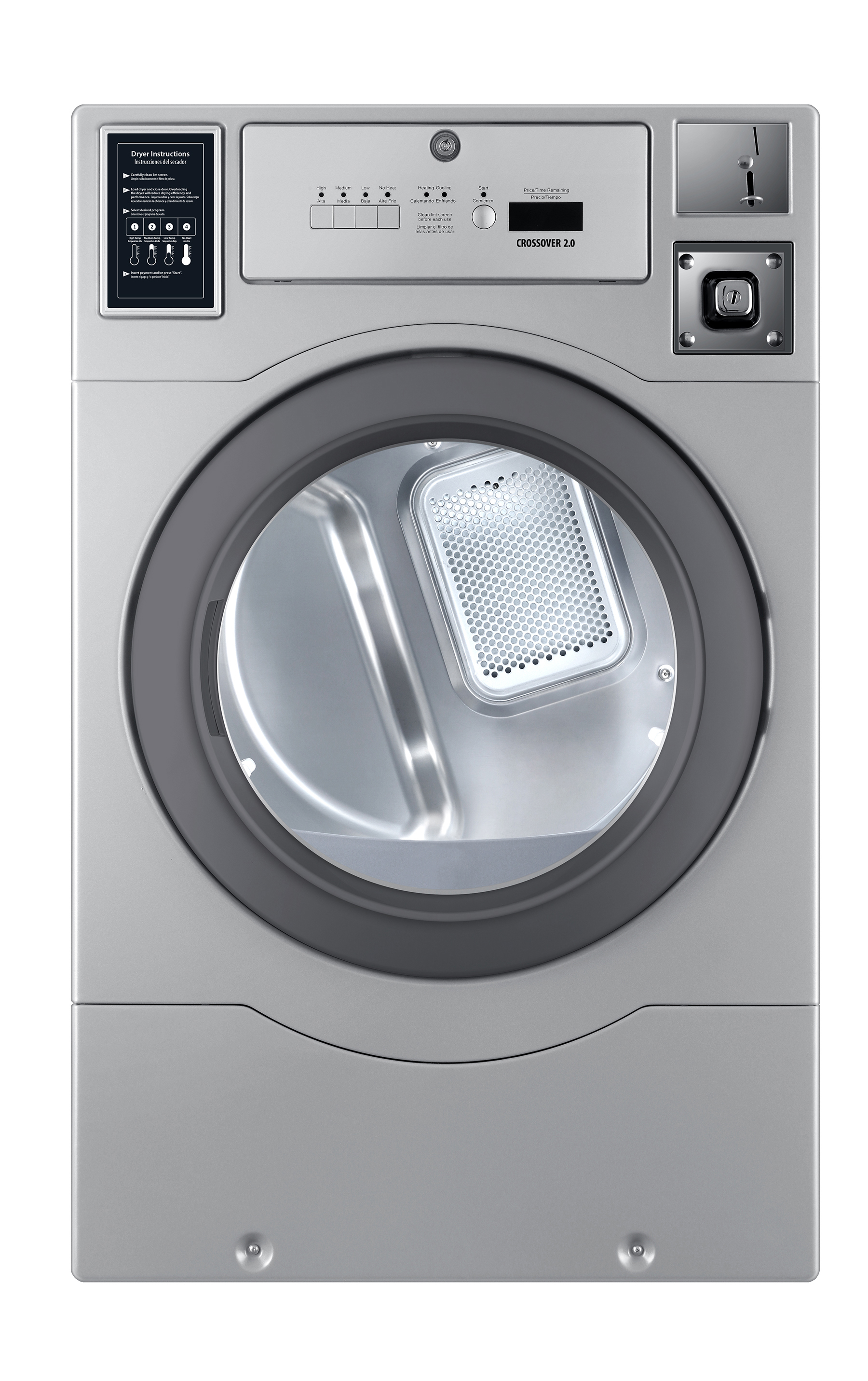 Crossover Laundry Crossover True Commercial Laundry - 7.0 CF Top Control Electric Dryer, Coin Option Included/Card Ready, Silver, 27""