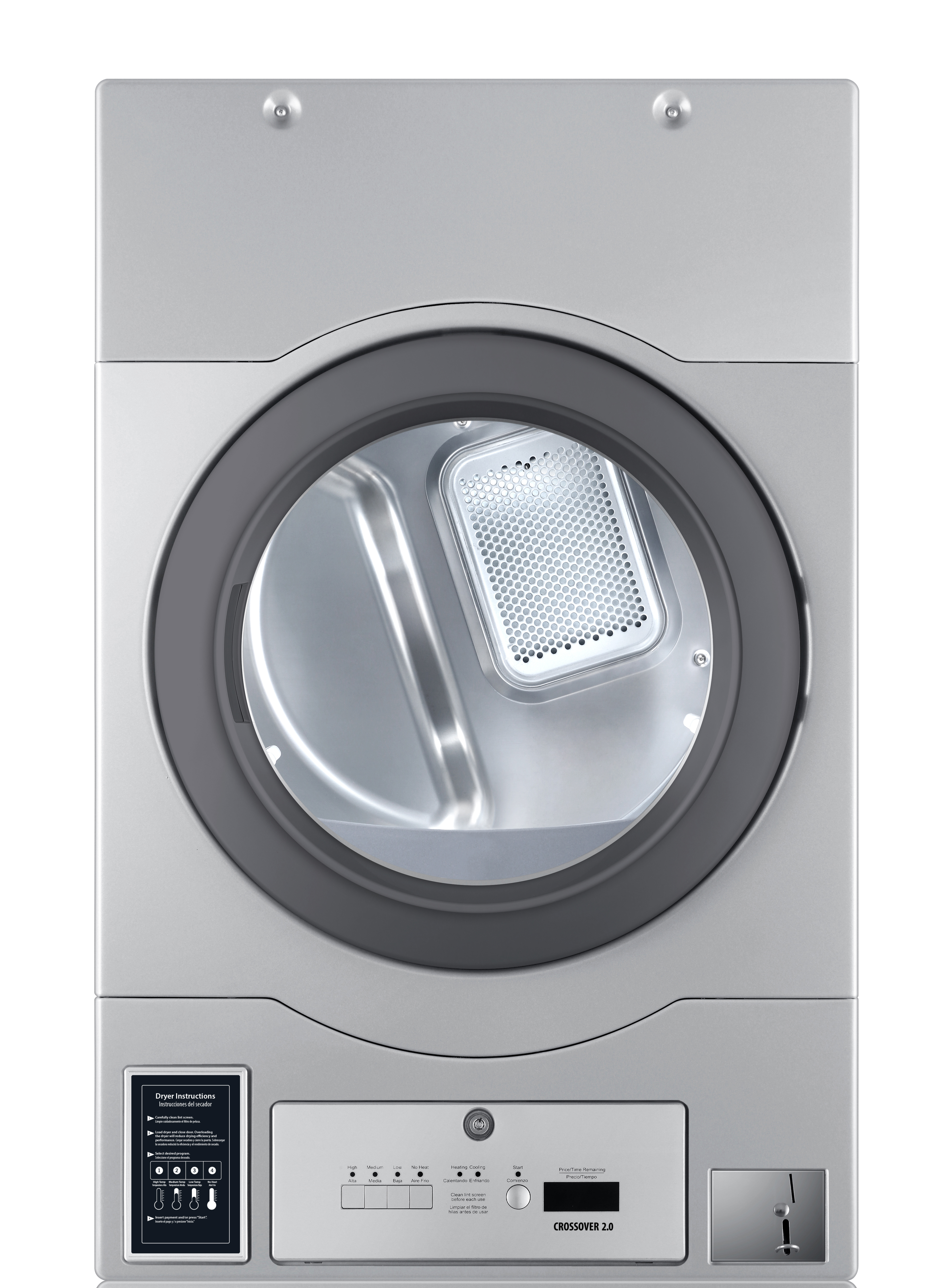 "Crossover Laundry Crossover True Commercial Laundry - 7.0 CF Bottom Control Electric Dryer, Coin Option Included/Card Ready, Silver, 27"" (Stacked application)"