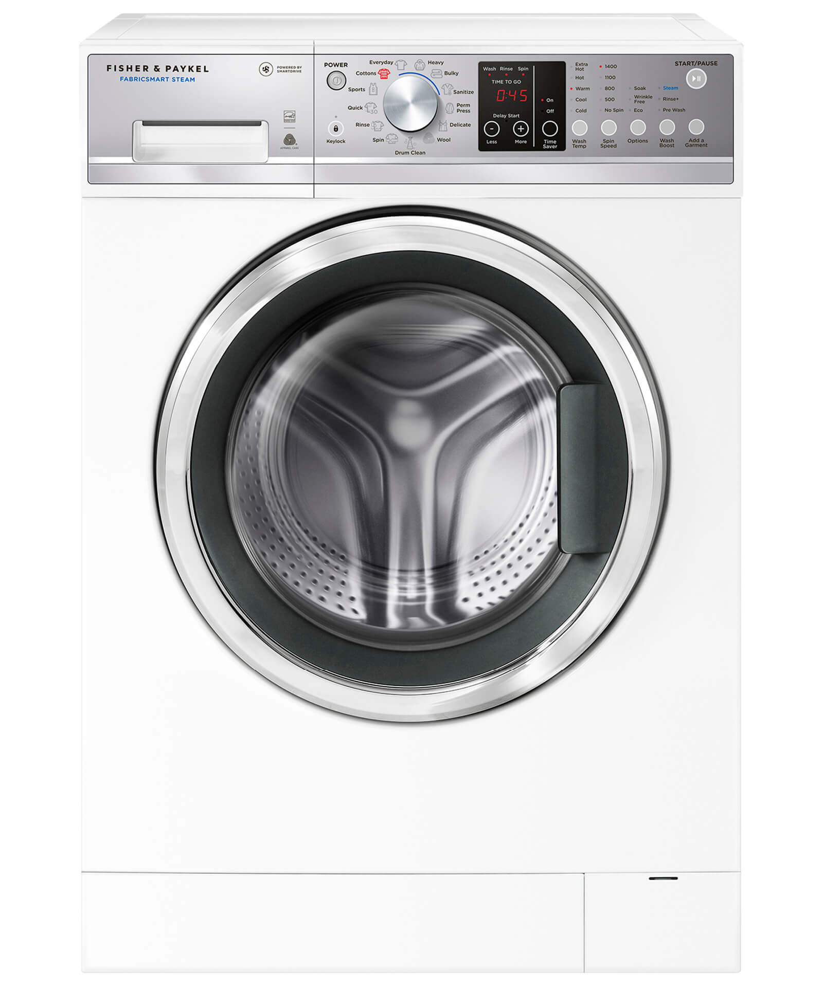 Fisher and Paykel FabricSmart™ Front Load Washer, 2.4 cu ft, Time Saver