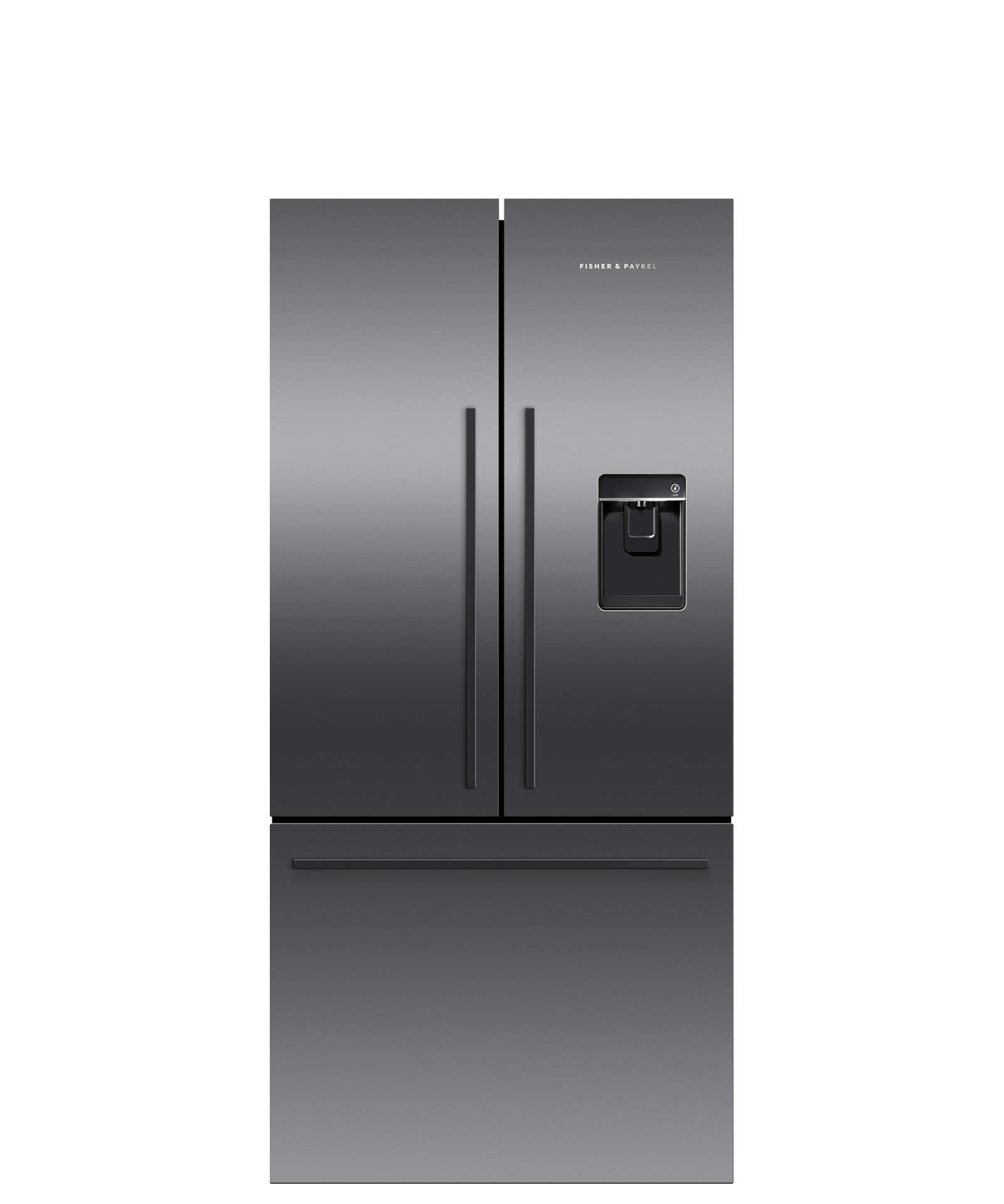 Fisher and Paykel Black Stainless Steel French Door Refrigerator, 17 cu ft, Ice & Water