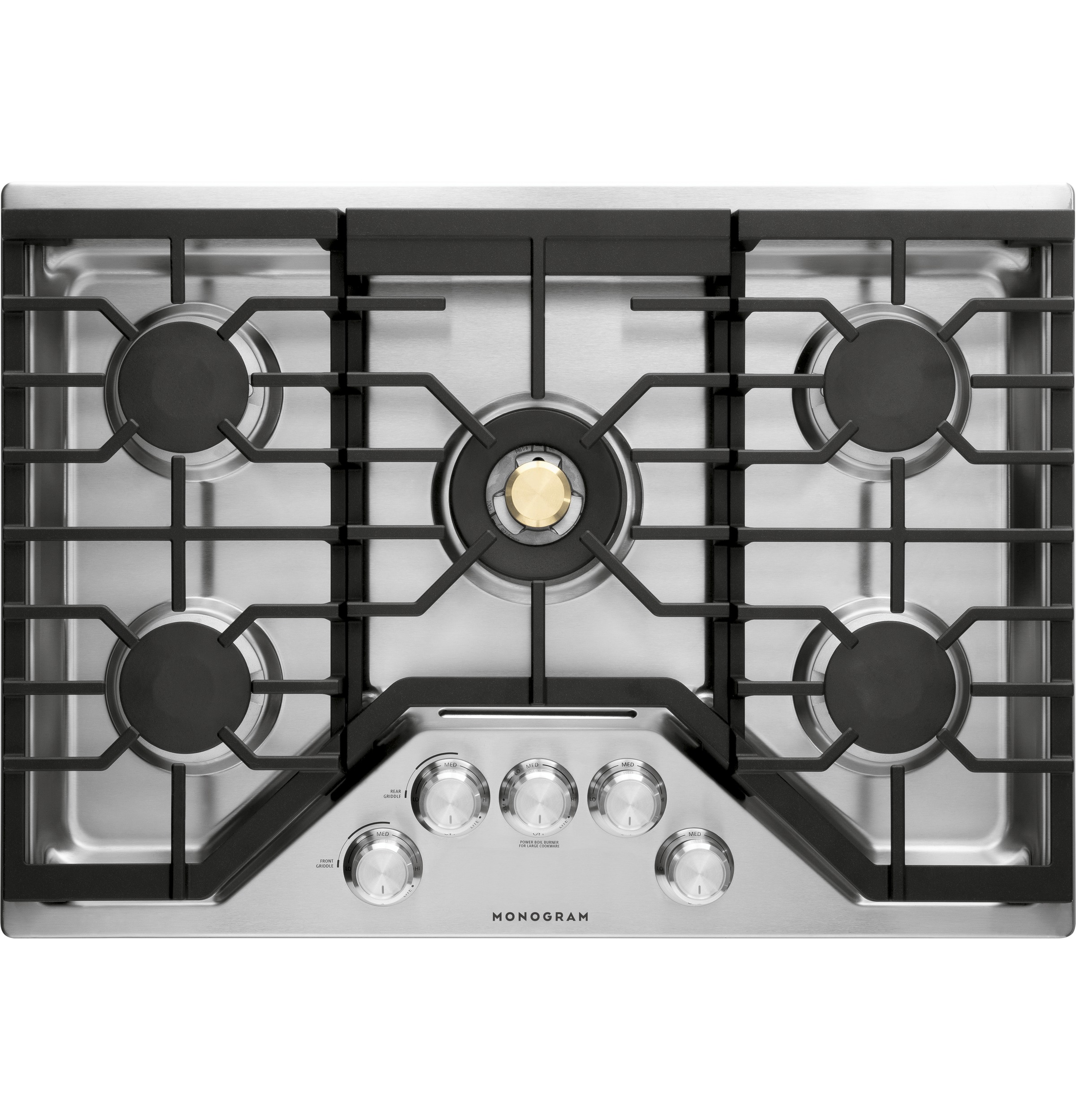 "Model: ZGU30RSLSS | Monogram Monogram 30"" Deep-Recessed Gas Cooktop (Natural Gas)"