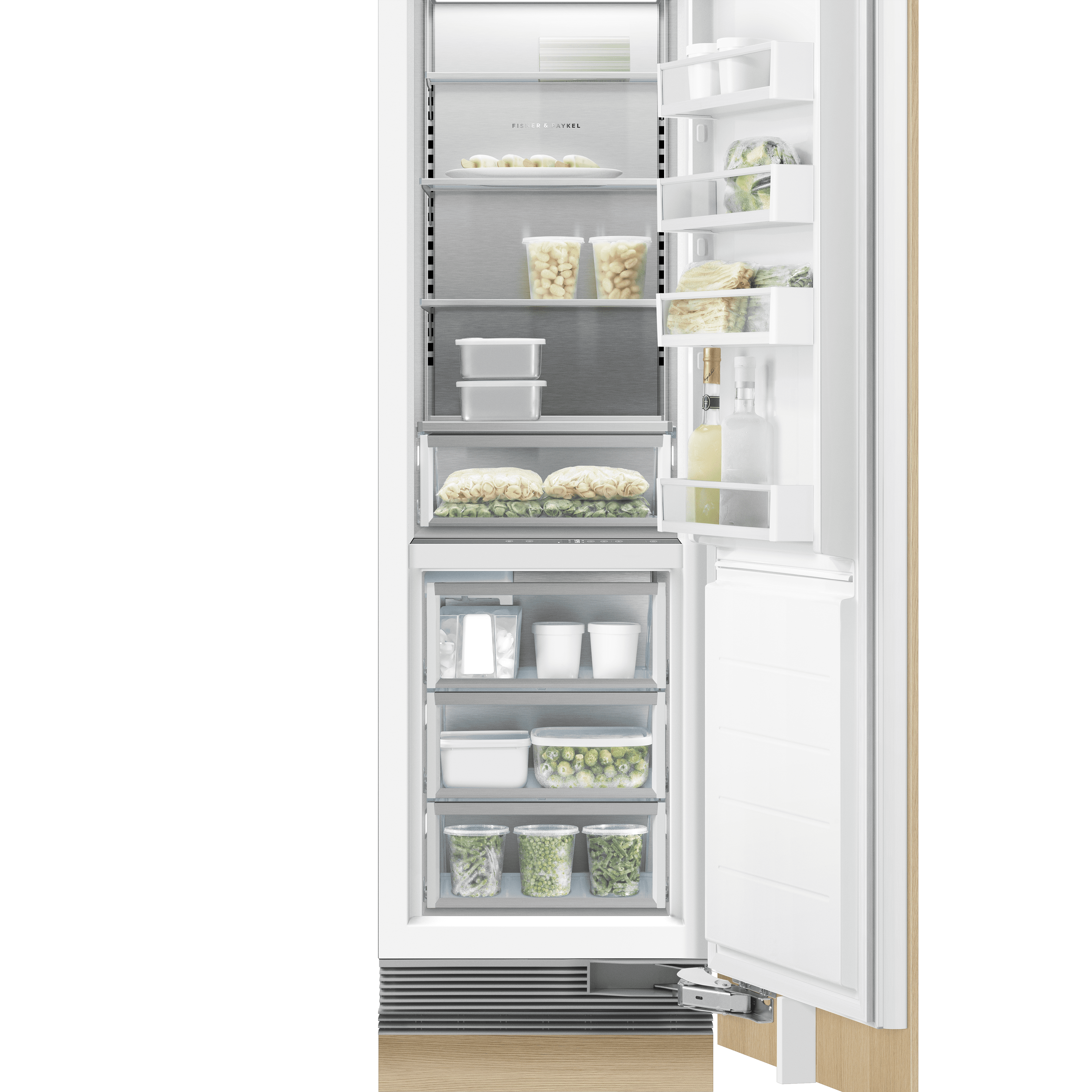 """Model: RS2484FRJK1   Fisher and Paykel Integrated Column Freezer 24"""", Stainless Steel Interior"""