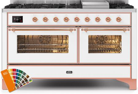 """Ilve 60"""" Majestic II Series Freestanding Dual Fuel Double Oven Range with 8 Sealed Burners, Triple Glass Cool Door, Convection Oven, TFT Oven Control Display, Child Lock and Griddle in Custom RAL Color"""