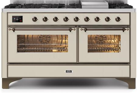 """Ilve 60"""" Majestic II Series Freestanding Dual Fuel Double Oven Range with 8 Sealed Burners, Triple Glass Cool Door, Convection Oven, TFT Oven Control Display, Child Lock and Griddle in Antique White"""