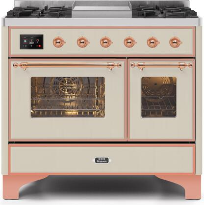 """Ilve 40"""" Majestic II Series Freestanding Dual Fuel Double Oven Range with 6 Sealed Burners,  Triple Glass Cool Door, Convection Oven, TFT Oven Control Display, Child Lock and Griddle in Antique White"""