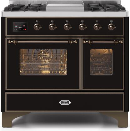 """Ilve 40"""" Majestic II Series Freestanding Dual Fuel Double Oven Range with 6 Sealed Burners,  Triple Glass Cool Door, Convection Oven, TFT Oven Control Display, Child Lock and Griddle in Glossy Black"""