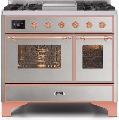"""Ilve 40"""" Majestic II Series Freestanding Dual Fuel Double Oven Range with 6 Sealed Burners,  Triple Glass Cool Door, Convection Oven, TFT Oven Control Display, Child Lock and Griddle in Stainless Steel"""