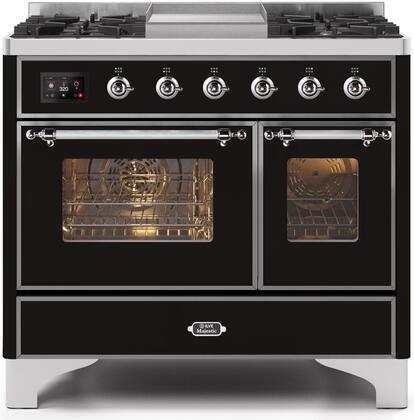 """Ilve 40"""" Majestic II Series Freestanding Dual Fuel Double Oven Range with 6 Sealed Burners,  Triple Glass Cool Door, Convection Oven, TFT Oven Control Display, Child Lock and Griddle in Gloss Black"""